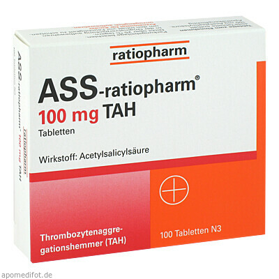 Ass-ratiopharm 100mg TAH 100 St., ratiopharm GmbH