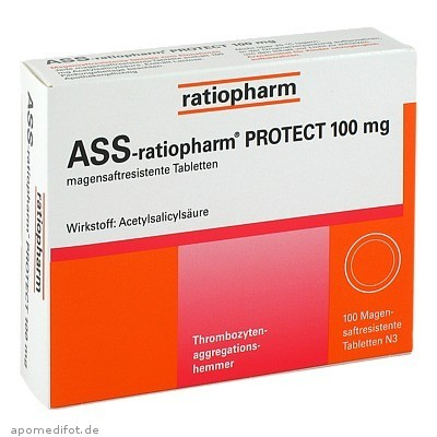 ASS-ratiopharm PROTECT 100mg 100 St., ratiopharm GmbH